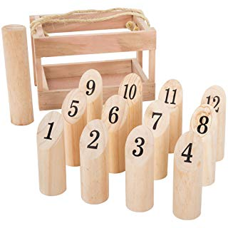 Wooden Molkky Throwing Game-Complete Set, 12 Numbered Pins, Throwing Dowel, Carrying Crate-Outdoor Lawn Games For Adults and Kids